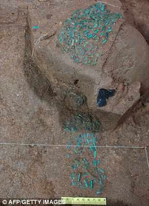 jade beads found in the royal tomb of a Mayan king found on June 2012