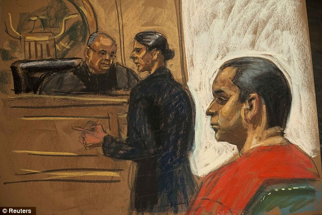 Not guilty: Valle, 28, is seen in this courtroom sketch last month with his public defender Julia Gatto, center, after pleading not guilty to criminal charges