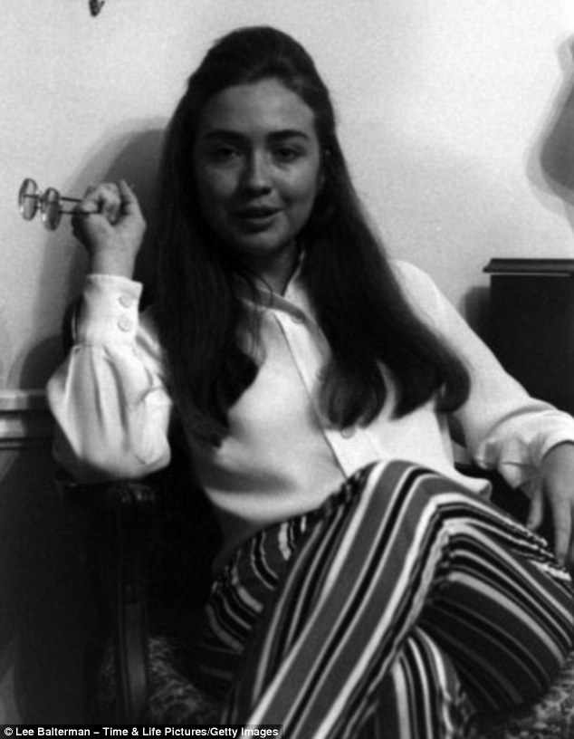 Young graduate: Celebrating Hillary Clinton's 65th birthday, a series of previously unpublished black and white images of a then 22-year-old Miss Rodham show her right after she graduated from Wellesley College