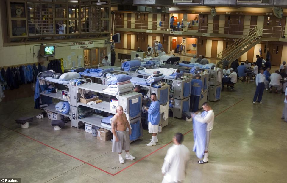 This prison, the Mule Creek State Prison in Ione, which houses murderers, child molesters, thieves and other criminals, is one of the most overcrowded in California. Some inmates have to share triple bunk beds in large public areas