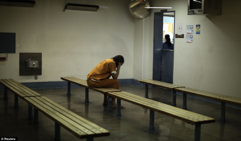 A rare moment of solitude for this inmate at the overcrowded Orange County jail in Santa Ana, California. Prisons in the US are their most stretched in terms of capacity since 2004