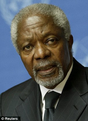 Concerns: Former UN chief Kofi Annan has said that many countries receiving aid from Britain can fend for themselves