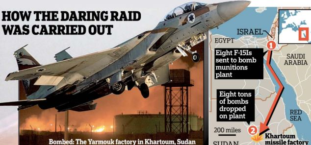 Graphic with details of a raid carried out a military complex in Khartoum