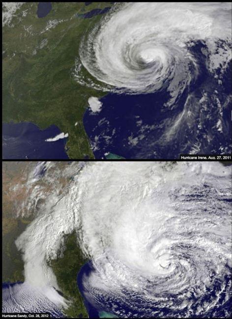 Mortal: Una comparación del huracán Irene en 2011 (arriba) y el huracán de arena (abajo) muestra la tormenta más fuerte de este año amenaza con ser