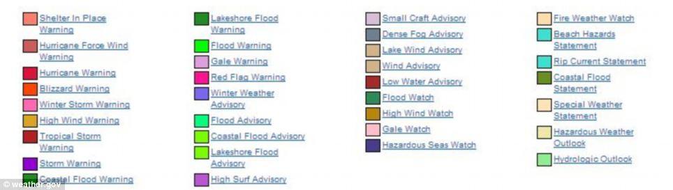 Aviso: Este mapa muestra weather.gov avisos que ha habido problemas en los que los condados, advirtiendo a sus residentes contra los fenómenos meteorológicos peligrosos diversos