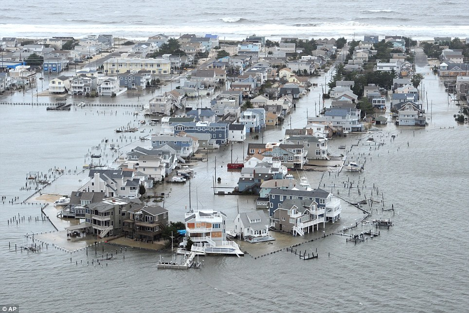 Flooding: A portion of Harvey Cedars on Long Beach Island, New Jersey was underwater after Superstorm Sandy blew across the state with devastating results
