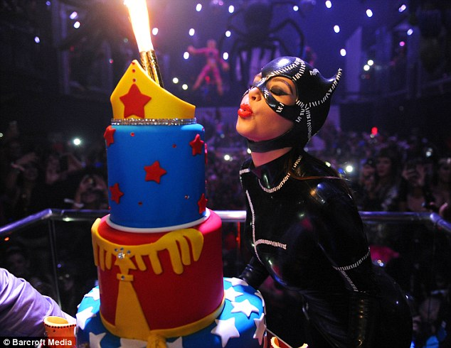 Make a wish: The TV personality was also celebrating her birthday after turning 32 earlier this month
