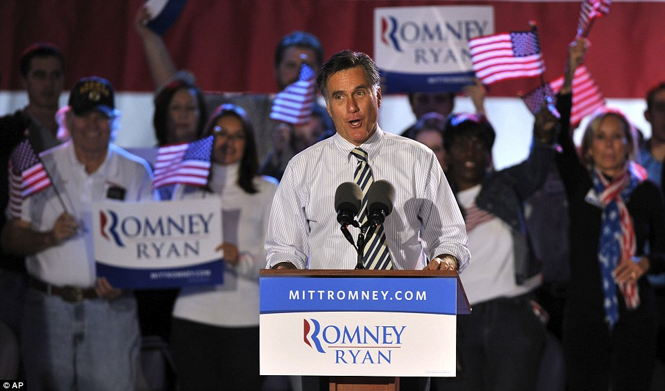 Silver lining? There was, however, a possible silver lining for Mr Romney, seen here in Jacksonville, Florida on Wednesday, after he received more positive than negative reviews for his low-key response to the storm
