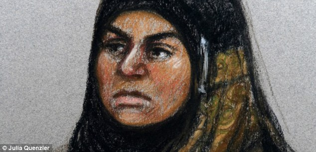 Accused: An artist's sketch of Sara Ege, who is accused of beating her son to death and setting fire to his body, on trial at Cardiff Crown Court