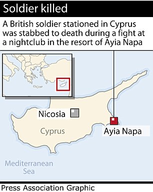 VIOLENT RACIST MUSLIM SCUM TARGETED SOLDIERS BECAUSE OF RACE graphic locates Ayia Napa, Cyprus, where a British soldier was stabbed to death