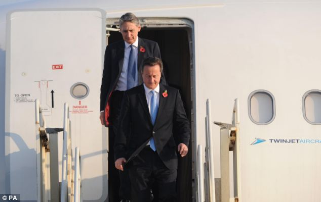 Mr Cameron, who is travelling with Defence Secretary Philip Hammond, arrived at the Al Minhad airbase in Dubai today