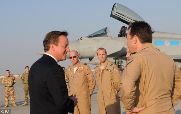 The PM met RAF personnel based at the Al Minhad airbase in Dubai where British Typhoon jets of 99 Squadron are stationed