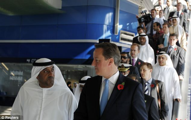 David Cameron arrived in Dubai today, where he met Sheikh Ahmed Bin Saeed Al-Maktoum, head of Emirates Airlines and president of Dubai's Civil Aviation Authority during a visit to the Dubai Metro