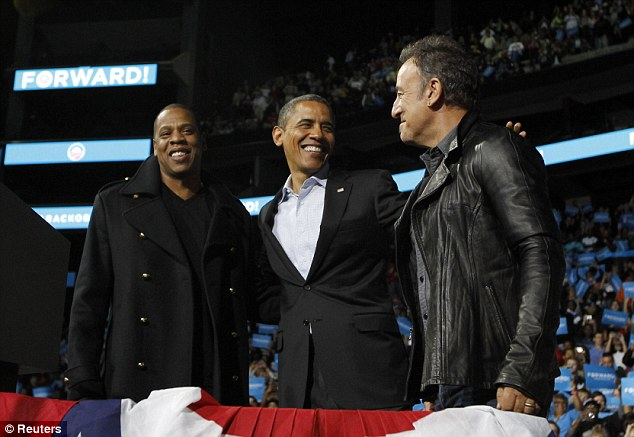 The bosses: President Barack Obama got some great support in the shape of Jay-Z and Bruce Springstein at an election campaign rally in Columbus, Ohio, on Monday