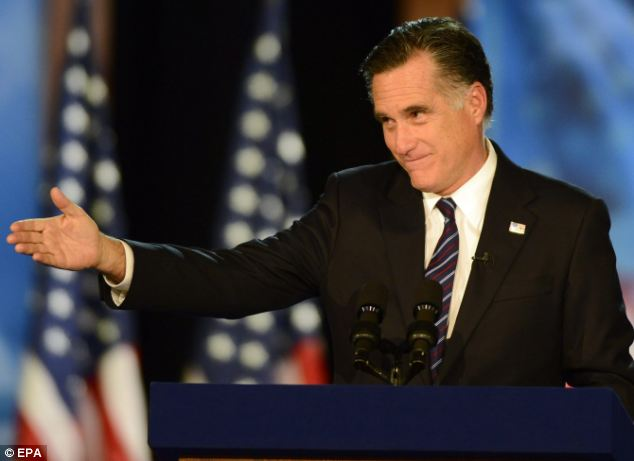 Thank you: Mitt Romney praised his running mate Paul Ryan and thanked his family and campaigners for their support