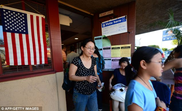 Support: Asian Americans vote at a Denny's Restaurant in Temple City, Los Angeles, California