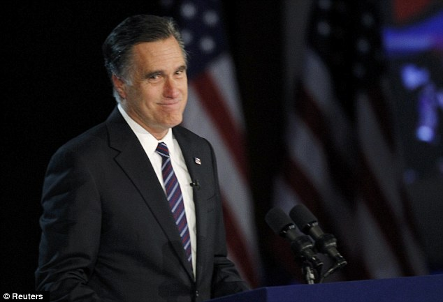 Gracious: Romney gave a rousing and supportive concession speech in Boston after losing the election