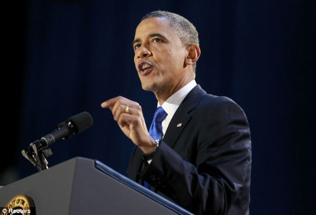 Moving forward: President Obama gives his election night victory speech in Chicago on Tuesday night