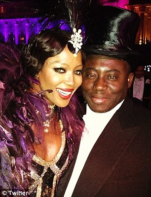 Thirties glamour: Naomi Campbell looking chic alongside fashion friend Edward Enninful at the second party last night