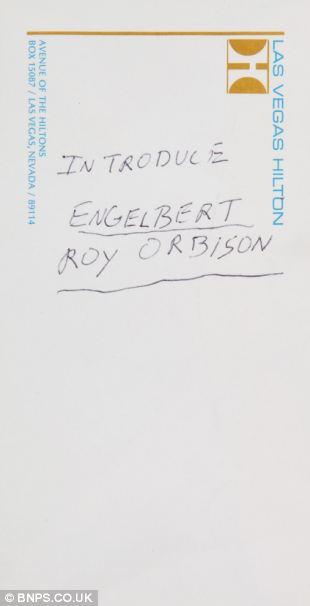 A hastily-scribbled set list written on the back of an envelope by Elvis Presley