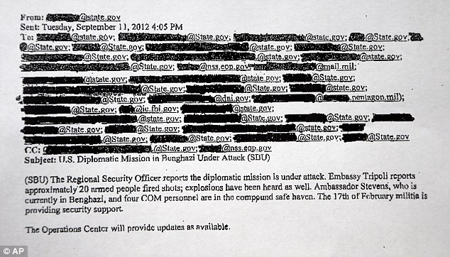 Classified: A redacted copy of an email discussing the attack of the Benghazi, Libya mission two hours after it happened