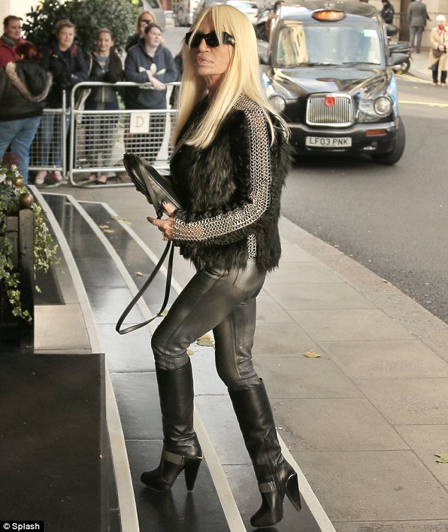 Fancy seeing you here: Donatella Versace just so happened to be staying at the same hotel as the famous family