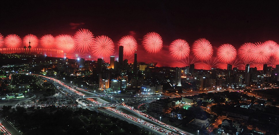 The firework show which lasted for an hour was the largest of its kinds in the world and cost a reported £10million