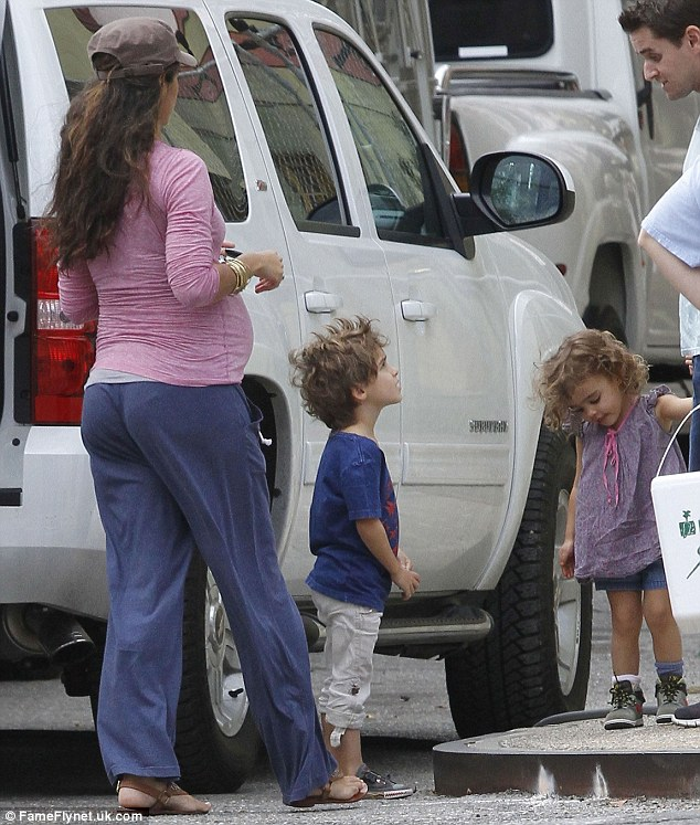 Taking them to see their father: Camila headed onto location with her two children, Levi and Vida