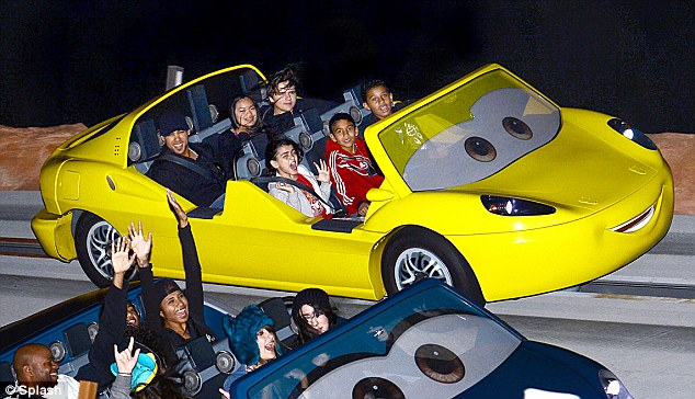 Thriller! As Paris and Prince sat back and enjoyed the Radiator Springs Racers ride their 10-year-old brother looked petrified