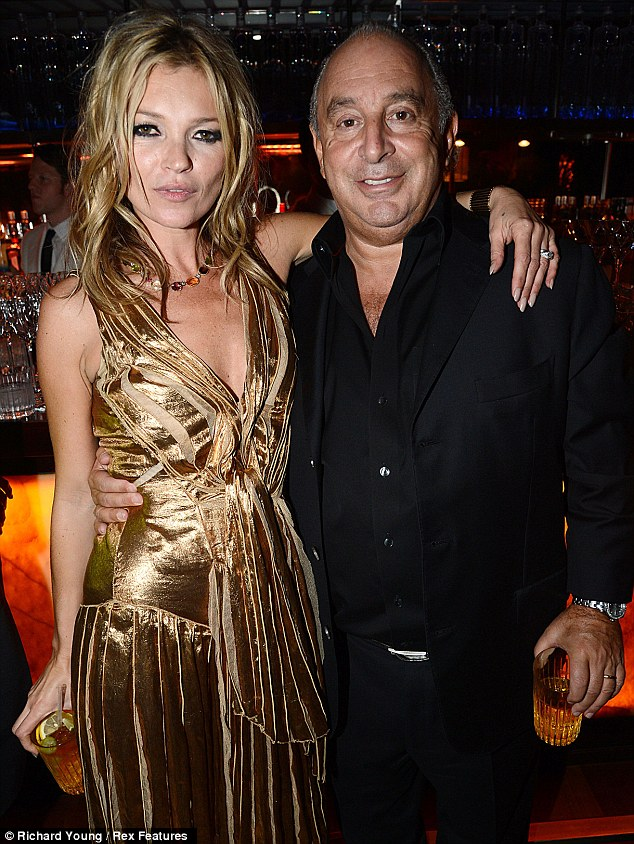 Fashion friends: Kate was joined inside by Topshop boss Sir Philip Green, who posed up next to her