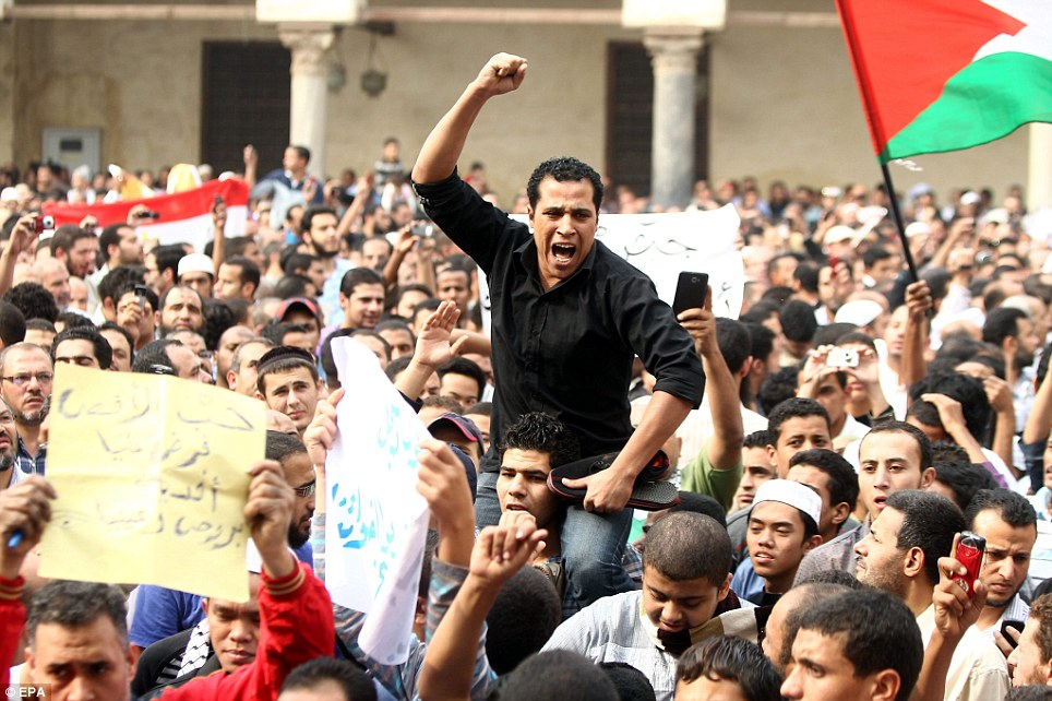 Spreading through the region: Egypt's Muslim brotherhood supporters demonstrate to condemn Israel's air strikes in Cairo today