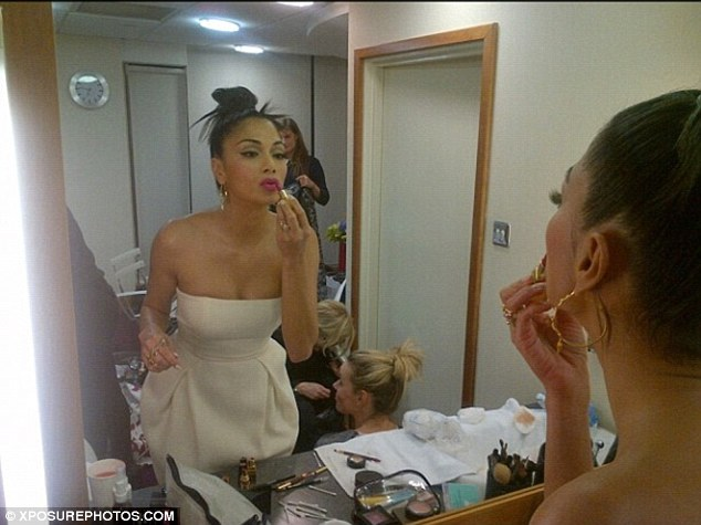 Getting ready: Nicole posts a picture of herself getting ready for her night out