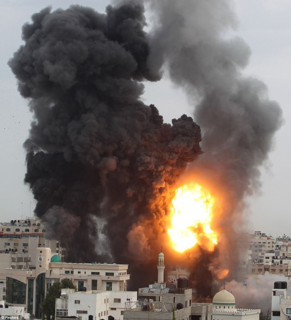 Airstrikes: Explosion and smoke in Gaza city as Israel extends their attack to Hamas government buildings including the building housing the prime minister's office