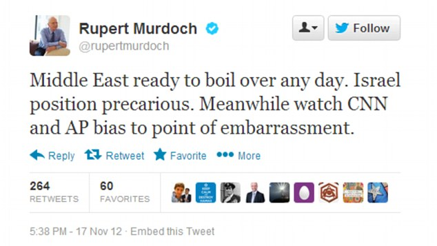 In one tweet, the News Corp chief pointed an accusatory finger at CNN and the AP