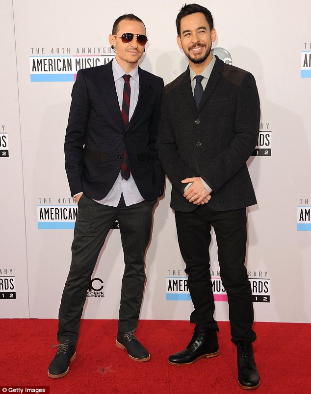 They scrub up well: Chester Bennington and Mike Shinoda of Linkin Park fame looked suave as they arrived together