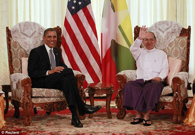 Both sides: The President also met with Myanmar's President Thein Sein during the six-hour trip