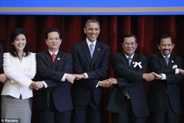 Together: With Obama are (left to right) Thailand's Prime Minister Yingluck Shinawatra, Vietnam's Prime Minister Nguyen Tan Dung, Cambodia's Prime Minister Hun Sen and Brunei's Sultan Hassanal Bolkiah