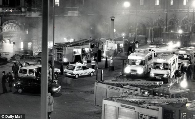 November 1987: Ambulance crews and police gathered at the station but for many it was too late