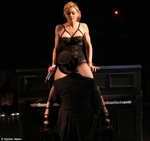 Not afraid to shock: The singer pushed her private parts into the face of a pianist during a concert in New York last week