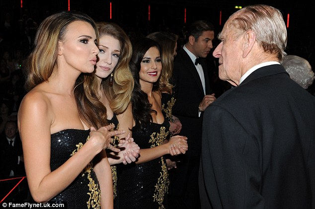 New chums? The Duke of Edinburgh seemed to be enjoying chatting to Girls Aloud's Nadine Coyle