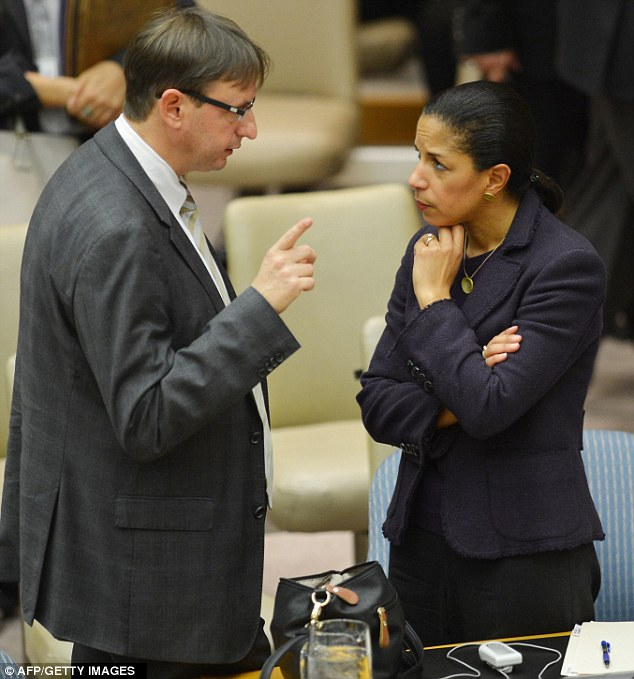 Intelligence: Rice says her remarks on the attack were based on preliminary intelligence. She is pictured speaking to a diplomat at a UN Security Council meeting