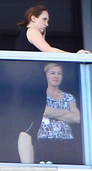 Au naturel: The 54-year-old singer looked happy and relaxed as she chatted away to her longtime pal Ingrid Casares