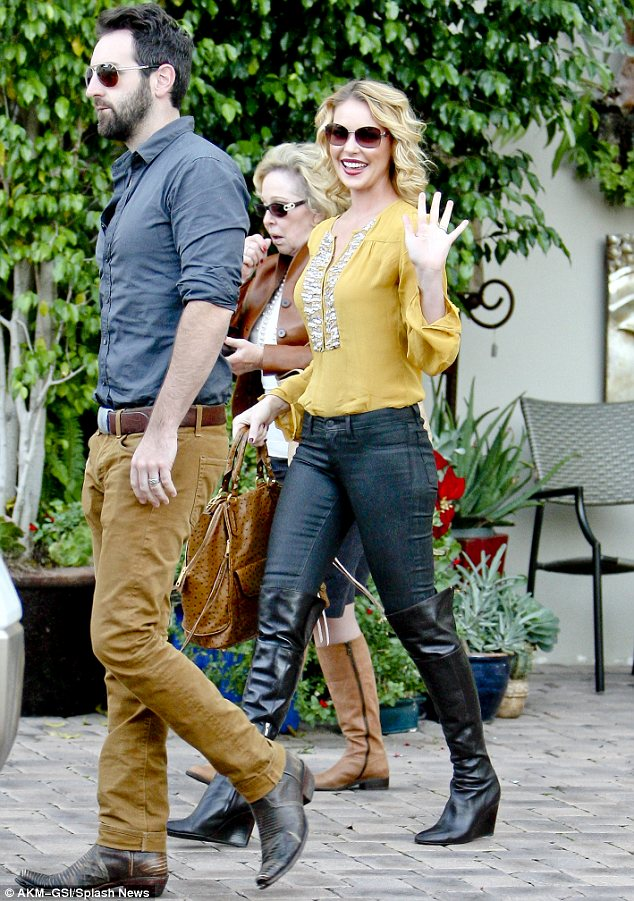Birthday girl: Katherine Heigl turned 34 on Saturday and celebrated with her husband Josh Kelley and mother Nancy