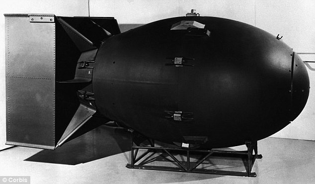 Plot: The U.S. was planning to launch an atomic bomb, like Fat Man, pictured above, that would be launched into space in a scrapped plan to blow up the moon