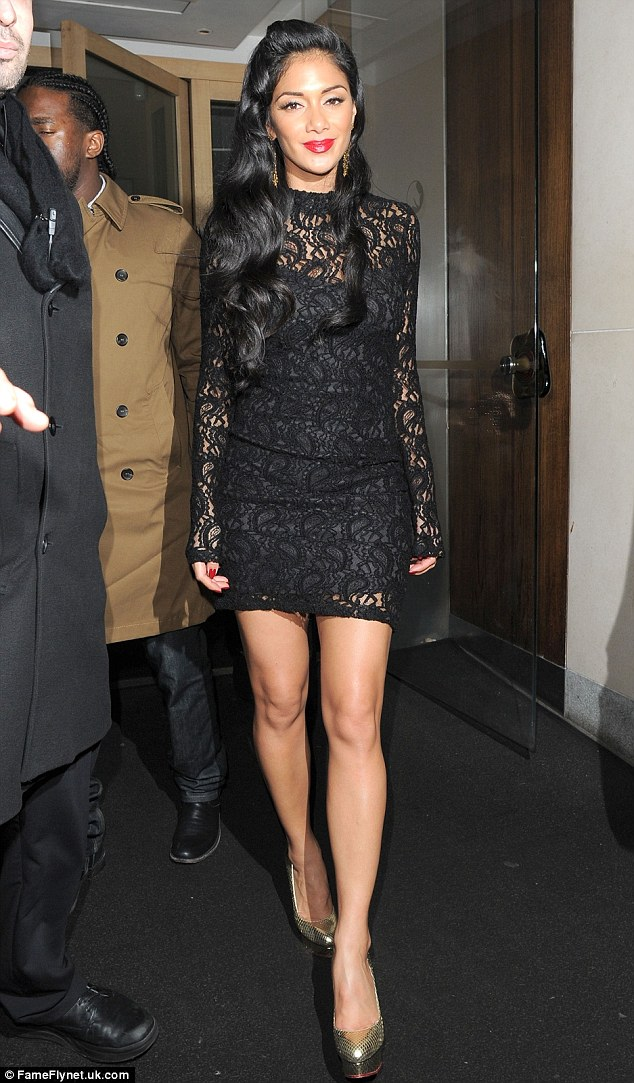Lovely in lace: Nicole Scherzinger heads out after Rylan Clark was axed from X Factor, he is the first of her acts to go