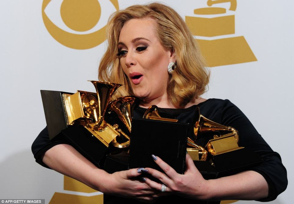 Singer Adele poses with her six trophies at the 54th Grammy Awards in Los Angeles in February