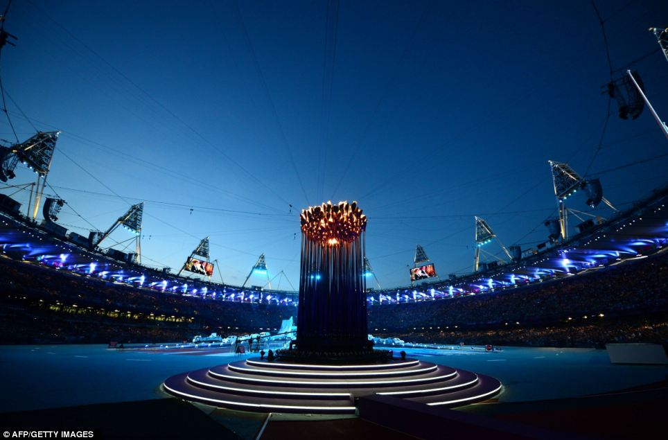 Tthe Olympic flame burning in the stadium at the closing ceremony of the 2012 Games
