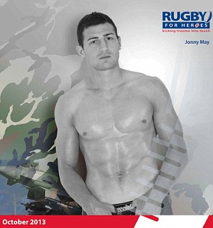 Jonny May keeps his hands firmly on his boxers on the October page, just in case the photographer gets any ideas...