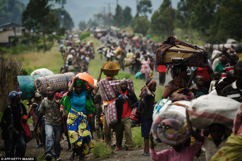 Thousands of Congolese flee the town of Sake following fresh fighting in the eastern Democratic Republic of the Congo town earlier this month