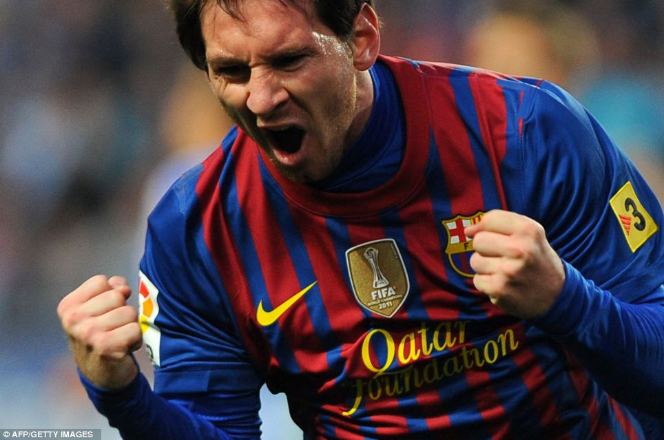 Barcelona's Argentinian forward Lionel Messi celebrates after scoring during the Spanish league football match